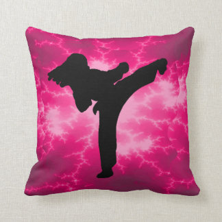 Martial Arts Girl Pink Lightning Pillow