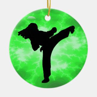 Martial Arts Green Lightning Female Design Ceramic Ornament