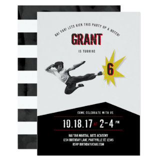 Martial Arts Kung Fu Karate  Birthday Invitation