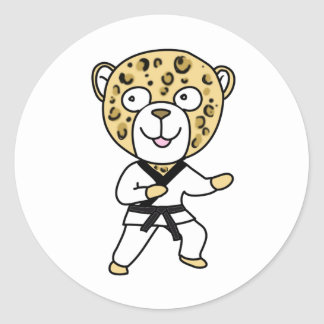 Martial Arts Leopard Classic Round Sticker