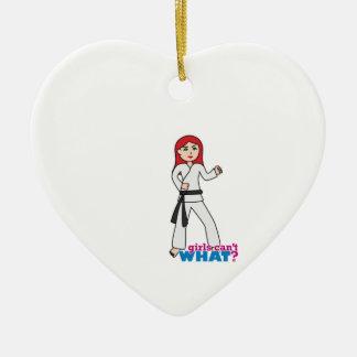 Martial Arts Light/Red Ceramic Heart Ornament