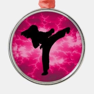 Martial Arts Lightning Pink Female Design Metal Ornament