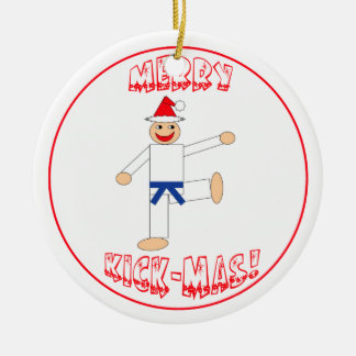 Martial Arts Merry Kick Mas Dark Blue Belt Ceramic Ornament