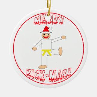 Martial Arts Merry Kick Mas Yellow Belt Ceramic Ornament