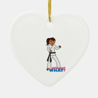 Martial Arts - Ponytail (Dark) Ceramic Heart Ornament