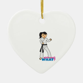 Martial Arts - Ponytail (Medium) Ceramic Heart Ornament