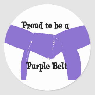 Martial Arts Proud to be a Purple Belt Classic Round Sticker