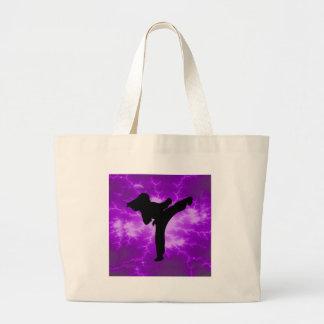 Martial Arts Purple Lightning Girl Large Tote Bag