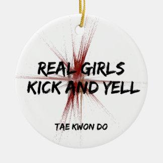 Martial Arts Real Girls Kick and Yell Taekwondo Ceramic Ornament