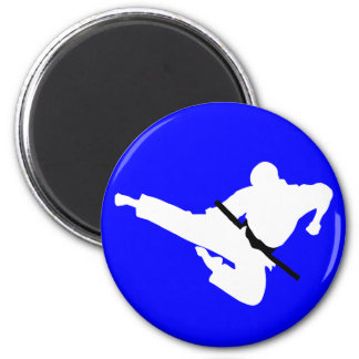 martial arts silhouette 2 inch round magnet