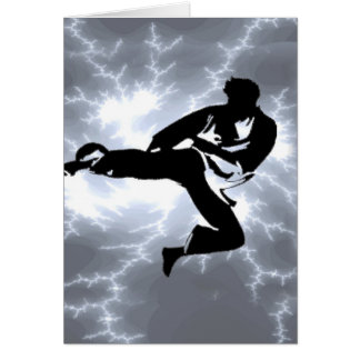 Martial Arts Silver Lightning man Card