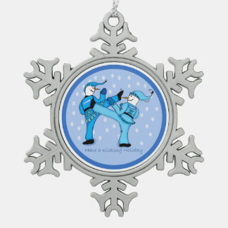 Martial Arts Snowmen for Christmas Ornament