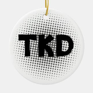 Martial Arts TKD Dots Round Ceramic Ornament
