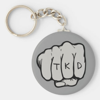 Martial Arts TKD Fist Basic Round Button Keychain
