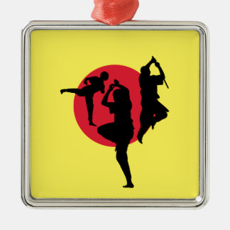 Martial arts with red circle and yellow background Silver-Colored square ornament
