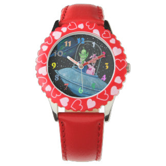 Martian and Cow in Flying Saucer Wristwatches