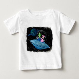 Martian and Cow on a Flying Saucer Baby T-Shirt