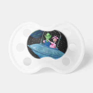 Martian and Cow on a Flying Saucer Pacifiers