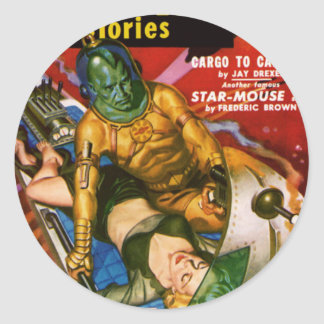 Martian and Earth Girl Classic Round Sticker