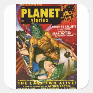 Martian and Earth Girl Square Sticker