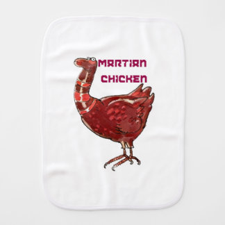 martian chicken cartoon style funny illustration burp cloth