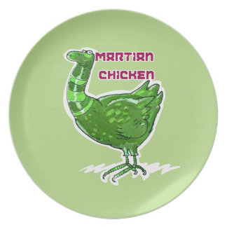 martian chicken cartoon style funny illustration plate