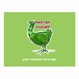 martian chicken cartoon style funny illustration postcard