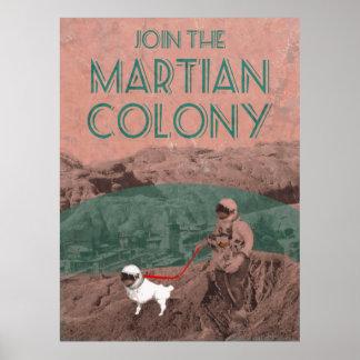 Martian Colony Futuristic Advertisement Poster