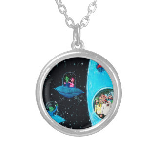 Martians and Cows Silver Plated Necklace