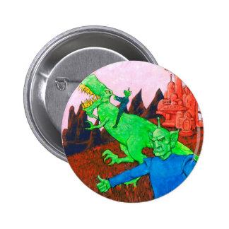 Martians and T-Rex 2 Inch Round Button