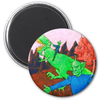 Martians and T-Rex 2 Inch Round Magnet