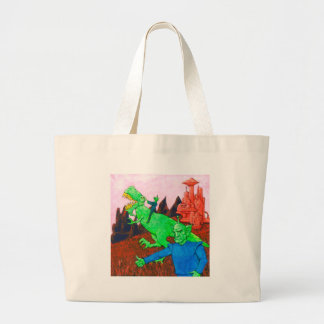 Martians and T-Rex Large Tote Bag