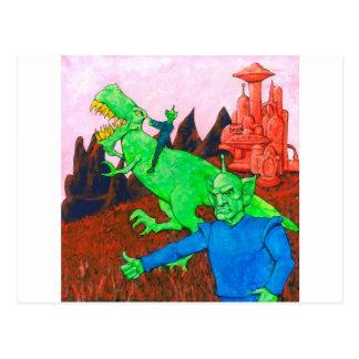 Martians and T-Rex Postcard