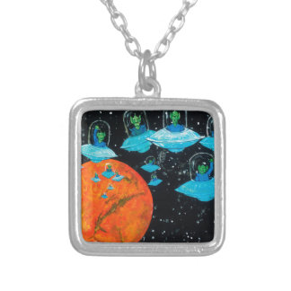 Martians are Angry Silver Plated Necklace