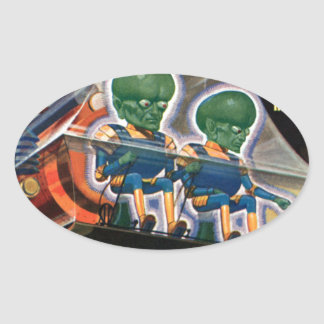 Martians Go For a Ride Oval Sticker