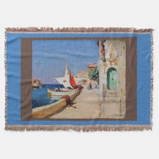 Martigues France Sailboats Sea Throw Blanket