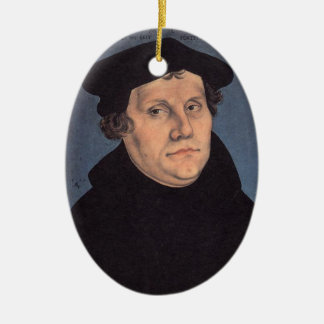 Martin and Katherina (von Bora) Luther Double-Sided Oval Ceramic Christmas Ornament