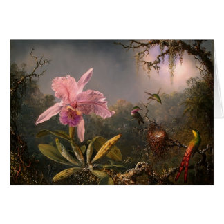 Martin Heade- Cattleya Orchid & Three Hummingbirds Card