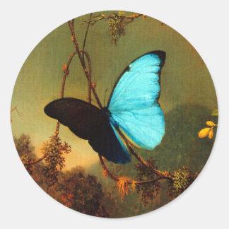 Martin Johnson Heade Blue Morpho Butterfly Round Sticker