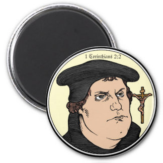 Martin Luther confessing Christ crucified magnet