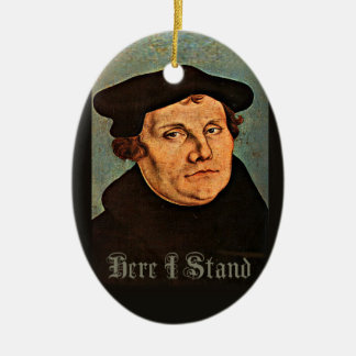 Martin Luther Here I Stand Double-Sided Oval Ceramic Christmas Ornament