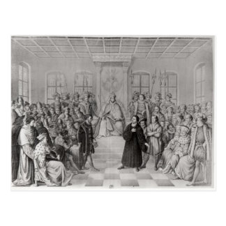Martin Luther in front of Charles V Postcard