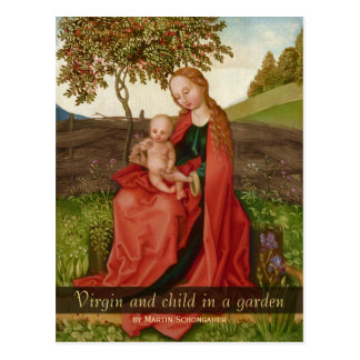 Martin Schongauer The virgin and child in a garden Postcard