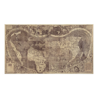 Martin Waldseemuller's 1507 Vintage World Map Poster