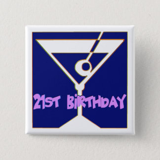Martini 21st Birthday Gifts 2 Inch Square Button