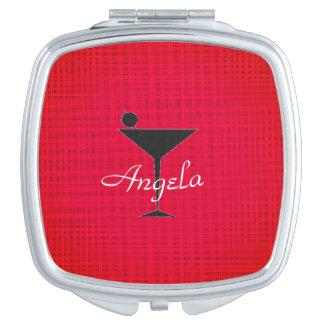Martini-Bachelorette-Gift-Ware-Monogram-Red- Compact Mirror