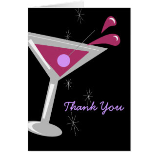 Martini Cocktail in Purple Thank You Card