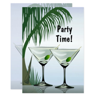 Martini Cocktails Party Tropical Invitation