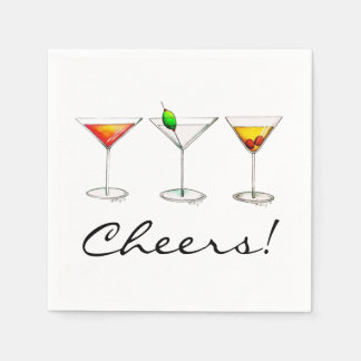 Martini Cosmo Manhattan Cocktail Cheers Napkins Disposable Napkins