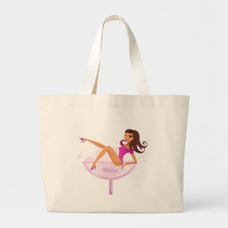 Martini girl original illustration large tote bag